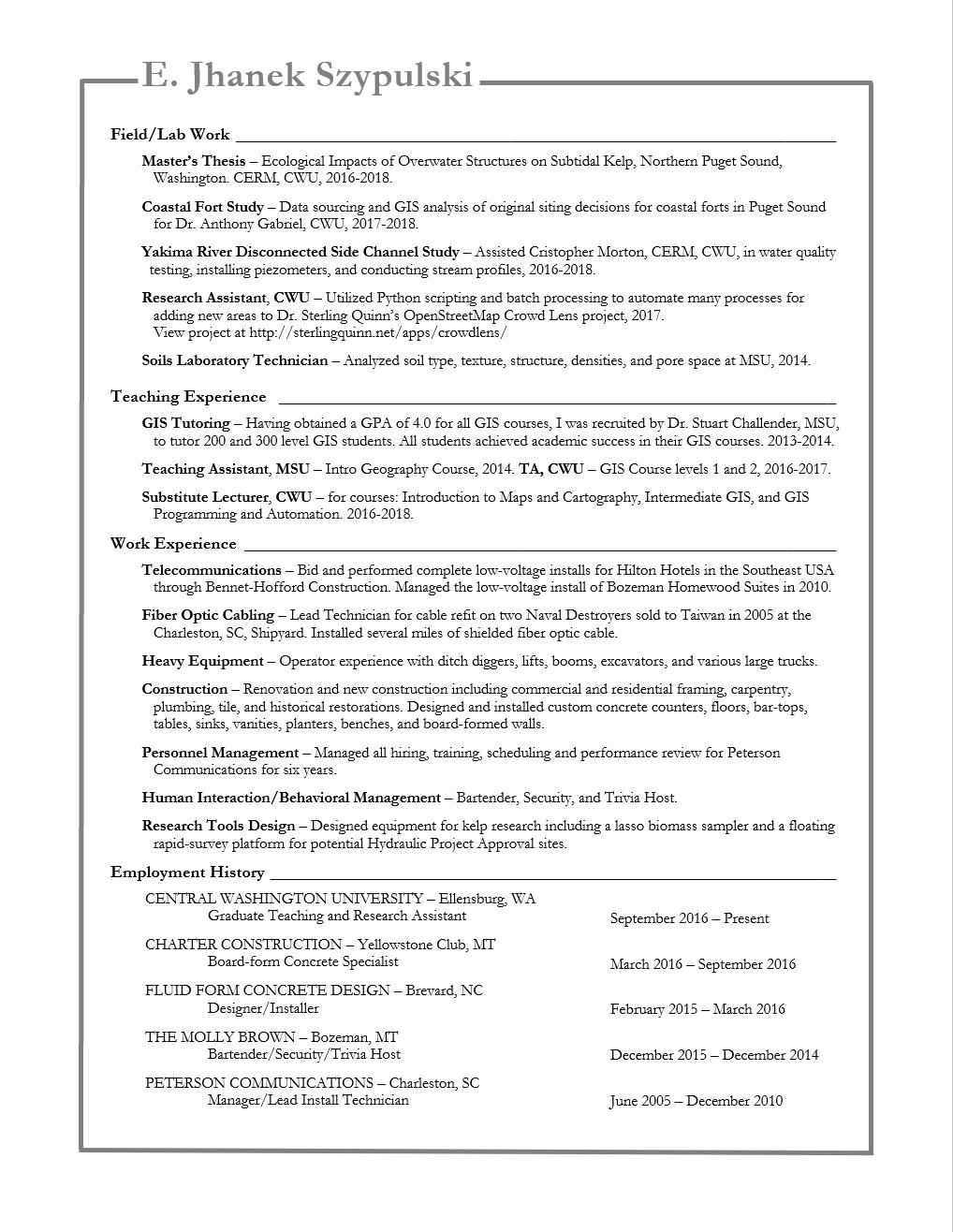 Jhanek Szypulski - Resume pg 2