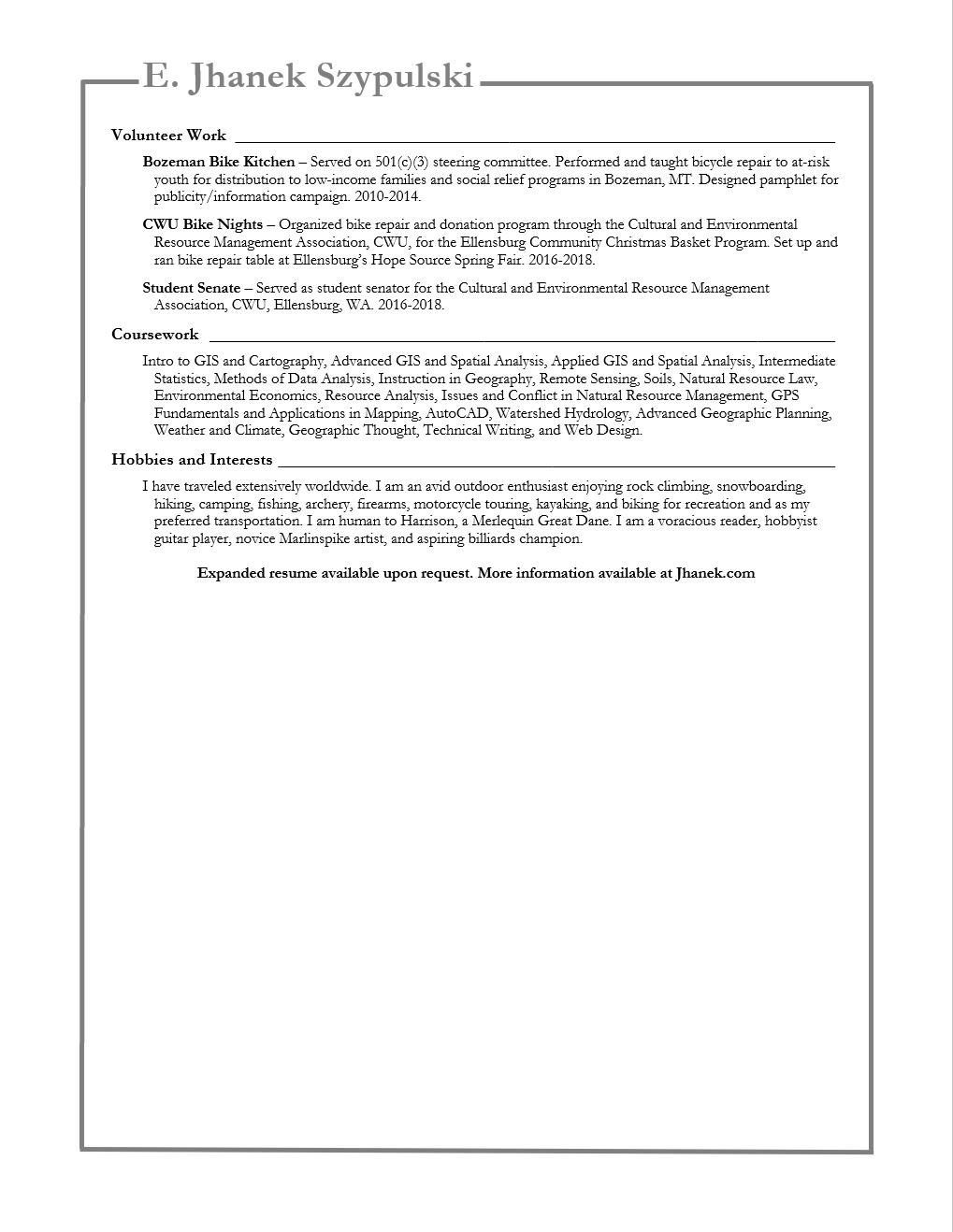 Jhanek Szypulski - Resume pg 3